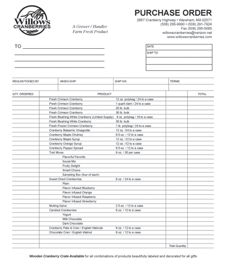 Order Willows Cranberries on auto sales purchase order forms, blank order forms, media order forms, printable vehicle purchase order forms,